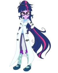 Size: 1600x2000 | Tagged: adult, alternate universe, artist:wubcakeva, clothes, comic, comic:twilight's lab, equestria girls, female, lab coat, lipstick, looking at you, older, older twilight, pants, safe, sci-twi, simple background, solo, transparent background, twilight sparkle
