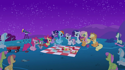 Size: 1920x1080 | Tagged: apple, apple bloom, applejack, banana, bon bon, bowl, cutie mark crusaders, dizzy twister, fluttershy, food, linky, mane seven, mane six, merry may, night, orange swirl, owl's well that ends well, picnic blanket, pinkie pie, rainbow dash, rarity, safe, scootaloo, screencap, scroll, shoeshine, sitting, spike, starry night, sweetie belle, sweetie drops, telescope, twilight sparkle