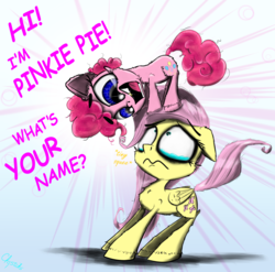 Size: 2000x1972 | Tagged: safe, artist:chopsticks, fluttershy, pinkie pie, earth pony, pegasus, pony, adorable distress, adoracreepy, cheek fluff, chest fluff, creepy, cute, dialogue, diapinkes, eye contact, female, filly, filly fluttershy, filly pinkie pie, foal, folded wings, gold tooth, hoof fluff, looking at each other, looking down, looking up, open mouth, personal space invasion, pinkie being pinkie, scared, shyabetes, squee, standing on head, teary eyes, text, wings, yelling, younger
