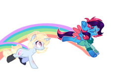 Size: 1024x618 | Tagged: artist:at--ease, base used, clothes, female, glasses, mare, oc, oc:love shield, oc only, oc:paint palette, pegasus, pony, rainbow, safe, simple background, socks, sweater, transparent background