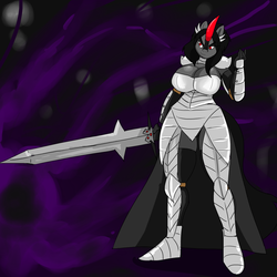Size: 1280x1280 | Tagged: safe, artist:denizen1414, king sombra, anthro, plantigrade anthro, anthroquestria, armor, big breasts, breasts, busty queen umbra, female, queen umbra, rule 63, solo, sword, weapon