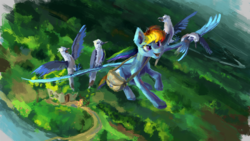 Size: 1921x1080   Tagged: safe, artist:plainoasis, fluttershy, rainbow dash, bird, pegasus, pony, bag, female, fluttershy's cottage, flying, mare, smiling, solo focus, spread wings, top down, wings