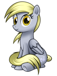 Size: 2742x3680   Tagged: safe, artist:mirrorcrescent, derpy hooves, pegasus, pony, female, looking at you, mare, simple background, sitting, smiling, solo, transparent background
