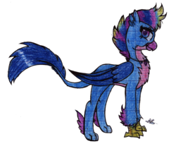 Size: 1280x1058 | Tagged: safe, artist:artricabeats, oc, hippogriffon, hybrid, offspring, parent:gallus, parent:silverstream, parents:gallstream, simple background, solo, traditional art, transparent background