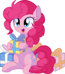 Size: 6492x7346   Tagged: safe, artist:cyanlightning, pinkie pie, earth pony, pony, .svg available, absurd resolution, cute, diapinkes, ear fluff, female, holding a present, mare, open mouth, pinkie pie is best pony, present, simple background, sitting, smiling, solo, transparent background, vector