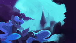Size: 1920x1080   Tagged: safe, artist:hierozaki, princess luna, alicorn, pony, female, folded wings, full moon, looking at you, mare, moon, night, solo, stern, wings