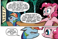 Size: 600x403   Tagged: safe, idw, pinkie pie, rainbow dash, earth pony, pegasus, pony, reflections, spoiler:comic, comic, duo, female, mare, mocking, narrowed eyes, official comic, simple background, speech bubble, white background
