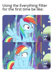 Size: 704x954 | Tagged: safe, edit, edited screencap, screencap, rainbow dash, ail-icorn, spoiler:interseason shorts, caption, disgusted, female, image macro, implied vomit, low effort, meme, meta, oh no, omg, shocked, solo, text