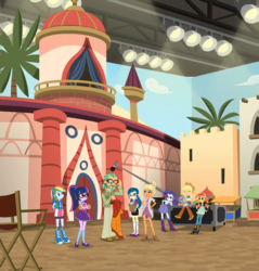 Size: 1937x2028 | Tagged: applejack, boom mic, canter zoom, chestnut magnifico, clothes, composite screencap, dog, dress, edit, edited screencap, equestria girls, geode of super speed, geode of telekinesis, juniper montage, magical geodes, microphone, movie magic, movie set, panorama, rainbow dash, rarity, safe, sci-twi, screencap, spike, spike the regular dog, spoiler:eqg specials, stage light, sunset shimmer, twilight sparkle