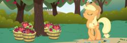Size: 2645x911 | Tagged: safe, composite screencap, edit, edited screencap, screencap, applejack, earth pony, pony, friendship is magic, apple, apple tree, basket, bucket, eyes closed, female, food, mare, panorama, tree