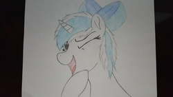 Size: 5312x2988 | Tagged: safe, artist:straighttothepointstudio, oc, oc only, pony, unicorn, bow, bust, colored, hair bow, happy, messy mane, one eye closed, portrait, solo, traditional art, wink