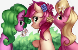 Size: 670x429 | Tagged: artist:luciferamon, cute, daisy, earth pony, female, flower, flower in hair, flower trio, flower wishes, lily, lily valley, looking at you, looking back, looking back at you, mare, mouth hold, :o, open mouth, pony, raised hoof, roseluck, safe, sitting, smiling, trio