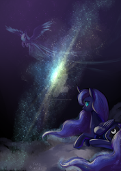 Size: 1280x1811 | Tagged: alicorn, artist:shu-jeantte, cloud, curved horn, cutie mark, deviantart watermark, ethereal mane, female, flying, galaxy, horn, large wings, looking at you, looking back, mare, obtrusive watermark, pony, princess luna, prone, safe, space, starry mane, stars, watermark, wings