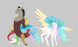 Size: 1405x847 | Tagged: alicorn, artist:m00n-fruit, blushing, chest fluff, colored wings, curved horn, cute, cutelestia, discord, dislestia, draconequus, female, flowing mane, fluffy, horn, leonine tail, male, missing accessory, princess celestia, safe, shipping, smiling, sparkles, straight, tail feathers, unshorn fetlocks