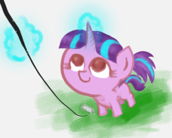 Size: 1500x1200 | Tagged: artist:t72b, derpibooru exclusive, female, filly, filly starlight, kite, kite flying, looking up, magic, pigtails, pony, safe, solo, starlight glimmer, that pony sure does love kites, younger