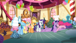 Size: 1280x720 | Tagged: alicorn, applejack, fluttershy, mane six, maud pie (episode), mid-blink screencap, out of context, pinkie pie, pony, rainbow dash, rarity, rock candy, safe, screencap, sugarcube corner, twilight sparkle, twilight sparkle (alicorn)