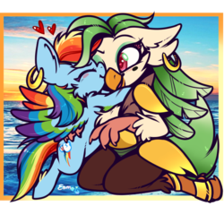 Size: 542x499 | Tagged: safe, artist:esmeia, captain celaeno, rainbow dash, pegasus, pony, my little pony: the movie, celaenodash, cute, dashabetes, ear piercing, earring, eyes closed, eyeshadow, female, heart, hug, jewelry, lesbian, makeup, mare, open mouth, piercing, shipping, smiling