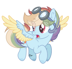 Size: 1341x1296 | Tagged: artist:dianamur, goggles, pony, rainbow dash, safe, simple background, solo, transparent background, two toned wings