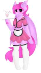 Size: 700x1243 | Tagged: anthro, anthro oc, arm hooves, artist:trigger-bolt, bat pony, bat pony oc, clothes, female, heart eyes, kneesocks, mare, midriff, milkshake, oc, oc:asmudera, oc only, safe, simple background, skirt, socks, solo, transparent background, unguligrade anthro, waitress, wingding eyes, ych result