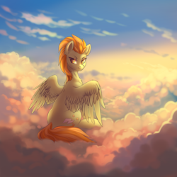 Size: 2388x2388 | Tagged: artist:dragonataxia, cloud, digital art, female, lightning dust, looking back, mare, pegasus, pony, safe, sitting, sky, solo, spread wings, wings