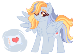Size: 1024x733 | Tagged: artist:azure-art-wave, chest fluff, female, magical lesbian spawn, mare, oc, oc only, oc:pillowtalk lovestruck, offspring, parent:derpy hooves, parent:honey lemon, pegasus, pony, safe, solo