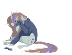 Size: 800x617 | Tagged: artist:bananasmores, clothes, crying, female, glasses, mare, messy mane, moondancer, pony, safe, sitting, solo, sweater, teary eyes, unicorn