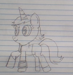 Size: 394x404 | Tagged: artist:nightshadowmlp, black and white, clothes, fallout equestria, fanfic, fanfic art, female, grayscale, hooves, horn, jacket, lined paper, mare, missing cutie mark, monochrome, oc, oc:littlepip, pants, pipboy, pipbuck, pony, safe, simple background, solo, traditional art, unicorn, vault suit, white background