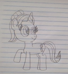 Size: 406x445 | Tagged: artist:nightshadowmlp, female, lined paper, mare, pony, raised hoof, safe, smiling, solo, starlight glimmer, starlight glimmer day, traditional art, unicorn