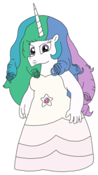 Size: 1738x3103 | Tagged: alternate hairstyle, alternate version, anthro, artist:supahdonarudo, clothes, dress, princess celestia, rose quartz (steven universe), safe, simple background, steven universe, transparent background