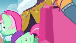 Size: 1920x1080 | Tagged: applejack, bag, best gift ever, christmas, christmas lights, clothes, cutie mark, faic, female, hearth's warming lights, holiday, :i, looking back, mare, minty bubblegum, offscreen character, plot, pony, present, safe, scarf, screencap