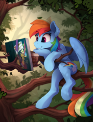 Size: 1730x2280 | Tagged: artist:yakovlev-vad, book, coffee, daring do and the sapphire statue, daring do books, female, mare, pegasus, pony, rainbow dash, safe, scenery, semi-anthro, sitting, smiling, solo, tree, tree branch