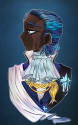 Size: 2267x3628 | Tagged: african, alternate hairstyle, artist:schokocream, black, blue background, bust, dark skin, human, humanized, male, portrait, prince, royal, royal guard, safe, scar, scared, serious, serious face, shining armor, simple background, solo, stallion