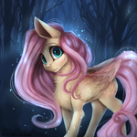 Size: 4000x4000 | Tagged: artist:alissa1010, artist:miokomata, chest fluff, collaboration, cute, cute little fangs, fangs, female, fluttershy, freckles, leg fluff, looking at you, mare, neck fluff, night, pegasus, pony, safe, shyabetes, solo, wing fluff