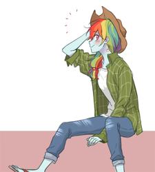 Size: 900x1000 | Tagged: safe, artist:dcon, rainbow dash, human, equestria girls, applejack's hat, clothes swap, cowboy hat, female, hat, implied appledash, implied applejack, implied lesbian, implied shipping, simple background, solo