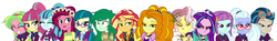 Size: 3554x522 | Tagged: adagio dazzle, aria blaze, artist:mit-boy, edit, editor:biggernate91, equestria girls, gloriosa daisy, indigo zap, juniper montage, lemon zest, line-up, safe, shadowbolts, sonata dusk, sour sweet, sugarcoat, sunny flare, sunset shimmer, the dazzlings, vignette valencia, wallflower blush
