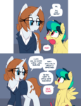 Size: 1892x2465 | Tagged: artist:shinodage, brush, clothes, comic, cute, dialogue, female, filly, freckles, glasses, looking at each other, mare, oc, oc:apogee, ocbetes, oc:diamond gavel, oc only, open mouth, pegasus, pony, safe, speech bubble, suit, unicorn