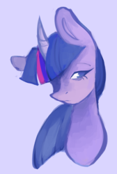 Size: 969x1444 | Tagged: artist:eudaemonix, bust, curved horn, female, hair over one eye, horn, lidded eyes, looking sideways, mare, pony, purple background, safe, simple background, solo, twilight sparkle