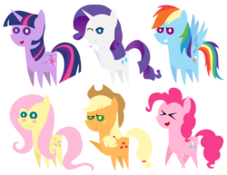 Size: 2710x2088 | Tagged: alicorn, applejack, artist:kingdark0001, blushing, earth pony, eyes closed, fluttershy, heart, kissy face, laughing, mane six, one eye closed, one hoof raised, open mouth, pegasus, pinkie pie, pointy ponies, pony, rainbow dash, rarity, safe, simple background, smiling, tongue out, transparent background, twilight sparkle, twilight sparkle (alicorn), unicorn, wink, xd