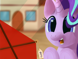 Size: 4096x3112 | Tagged: artist:stellardust, cute, derpibooru exclusive, female, happy, house, kite, mare, open mouth, pony, redraw, safe, solo, starlight glimmer, that pony sure does love kites, unicorn