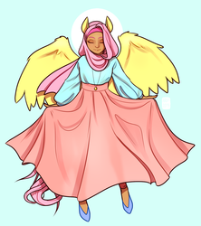 Size: 1354x1522 | Tagged: safe, artist:alvrexadpot, fluttershy, human, blushing, clothes, eared humanization, eyes closed, halo, hijab, humanized, islam, islamashy, jewelry, long skirt, necklace, religion, see-through, skirt, solo, tail, tailed humanization, winged humanization, wings