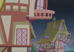 Size: 2500x1750 | Tagged: artist:pizzamovies, background, night, no pony, ponyville, safe, stars, window