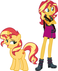 Size: 3460x4229 | Tagged: artist:caliazian, artist:famousmari5, artist:quanxaro, boots, clothes, crossed arms, equestria girls, female, geode of empathy, human, human ponidox, magical geodes, mare, palette swap, part of a set, pony, recolor, safe, self ponidox, shoes, simple background, skirt, smiling, sunset shimmer, transparent background, unicorn, vector