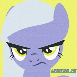 Size: 400x400 | Tagged: safe, artist:quanxaro, limestone pie, earth pony, pony, female, frown, grumpy, icon, looking at you, mare, simple background, solo, yellow background