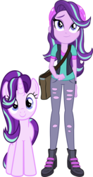 Size: 1652x3138 | Tagged: safe, artist:quanxaro, artist:remcmaximus, artist:xebck, starlight glimmer, pony, unicorn, equestria girls, mirror magic, spoiler:eqg specials, cute, front view, glimmerbetes, looking at you, new hairstyle, palette swap, part of a set, recolor, self ponidox, simple background, smiling, solo, transparent background, vector