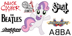 Size: 1456x727 | Tagged: abba, alice cooper, arena rock, artist:thatguy1945, art rock, dokken, flight to the finish, ghost (band), glam metal, heavy metal, journey (band), pony, pop rock, rock, safe, simple background, solo, steam powered giraffe, sweetie belle, the beatles, unicorn, vaudeville, vector, white background