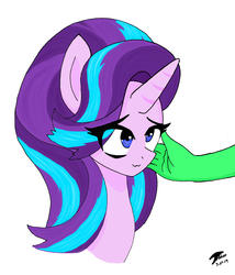 Size: 3600x4200 | Tagged: safe, artist:brekrofmadness, starlight glimmer, oc, oc:anon, pony, unicorn, :3, bust, female, mare, offscreen character, portrait, simple background, smiling, solo, starlight glimmer day, white background
