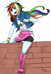 Size: 737x1069 | Tagged: artist:sa-eku, boots, brick wall, clothes, equestria girls, female, looking at you, open mouth, rainbow dash, safe, shoes, simple background, smiling, solo, white background