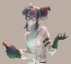 Size: 1900x1700 | Tagged: artist:tcn1205, clothes, eqg summertime shorts, equestria girls, female, glasses, gloves, goggles, grin, hair bun, human, humanized, lab coat, mad scientist, mad twience, multicolored hair, pen, pony coloring, purple eyes, safe, sci-twi, smiling, solo, sweater, turtleneck, twilight sparkle