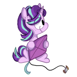 Size: 500x500 | Tagged: artist:pinkiespresent, kite, pony, safe, smiling, solo, starlight glimmer, that pony sure does love kites, unicorn