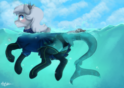 Size: 4961x3508 | Tagged: absurd res, artist:pucksterv, clothes, commission, cute, female, kantai collection, looking back, oc, oc:lacera viscera, oc only, original species, pleated skirt, plot, safe, shark pony, shipmare, ship ponies, skirt, skirt lift, smiling, socks, solo, thigh highs, upskirt, water
